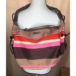 KATE SPADE Canvas Striped Bag Purse Pocketbook
